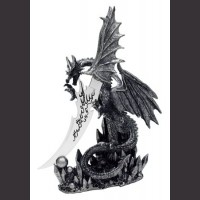 "13"" Obsidian Dragon Statue"